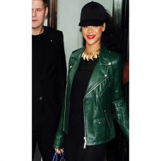 Rihanna Classic Green Leather Jacket